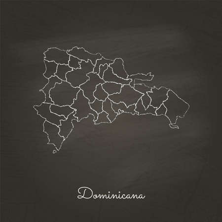 Dominicana region map: hand drawn with white chalk on school blackboard texture. Detailed map of Dominicana regions. Vector illustration. Ilustração