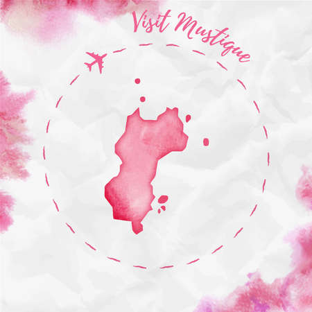 Mustique watercolor island map in red colors. Visit Mustique poster with airplane trace and handpainted watercolor map on crumpled paper. Vector illustration.