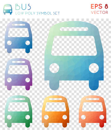 Bus geometric polygonal icons. Alluring mosaic style symbol collection. Interesting low poly style. Modern design. Bus icons set for infographics or presentation.