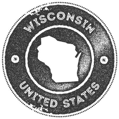 Wisconsin map vintage stamp. Retro style handmade label, badge or element for travel souvenirs. Dark grey rubber stamp with us state map silhouette. Vector illustration. Çizim