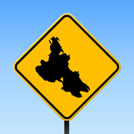 Krk map on road sign. Square poster with Krk island map on yellow rhomb road sign. Vector illustration. 矢量图像