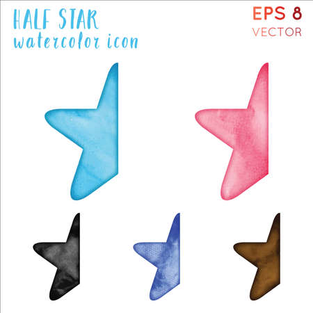 Half Star Watercolor Icon Set Beauteous Hand Drawn Style Symbol