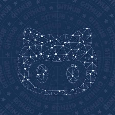 Github network symbol. Alive constellation style symbol. Unique network style. Modern design. Github symbol for infographics or presentation.