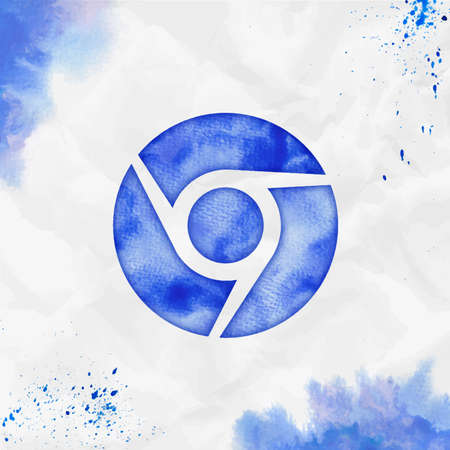 Chrome watercolor icon. Adorable hand drawn style symbol. Sublime watercolor symbol. Modern design for infographics or presentation.