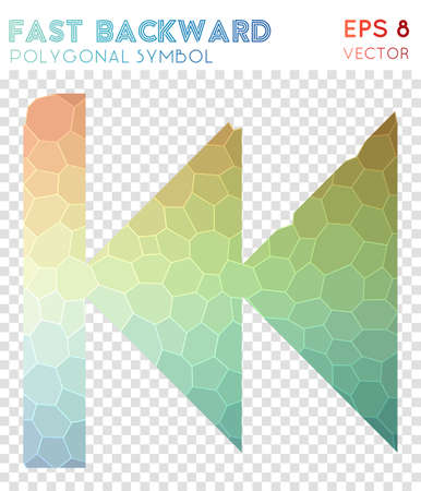 Fast backward polygonal symbol. Amazing mosaic style symbol. Magnificent low poly style. Modern design. Fast backward icon for infographics or presentation.