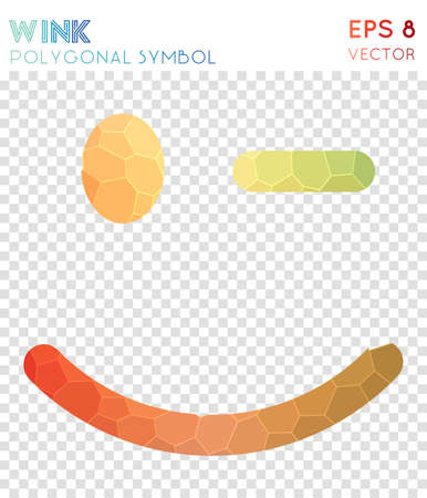 Emo wink polygonal symbol. Amazing mosaic style symbol. Beautiful low poly style. Modern design. Emo wink icon for infographics or presentation. Vector Illustratie