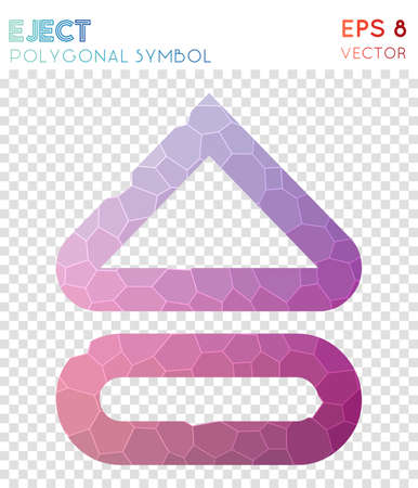 Eject alt outline polygonal symbol. Alluring mosaic style symbol. Terrific low poly style. Modern design. Eject alt outline icon for infographics or presentation. Illustration