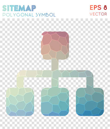 Sitemap polygonal symbol. Beauteous mosaic style symbol. Decent low poly style. Modern design. Sitemap icon for infographics or presentation.