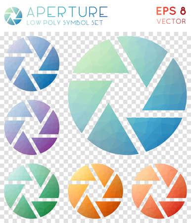 Aperture geometric polygonal icons. Alive mosaic style symbol collection. Curious low poly style. Modern design. Aperture icons set for infographics or presentation.