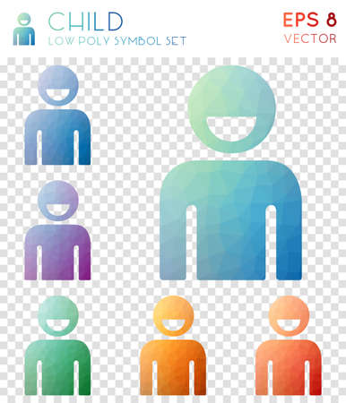 Child geometric polygonal icons. Amazing mosaic style symbol collection. Magnificent low poly style. Modern design. Child icons set for infographics or presentation.