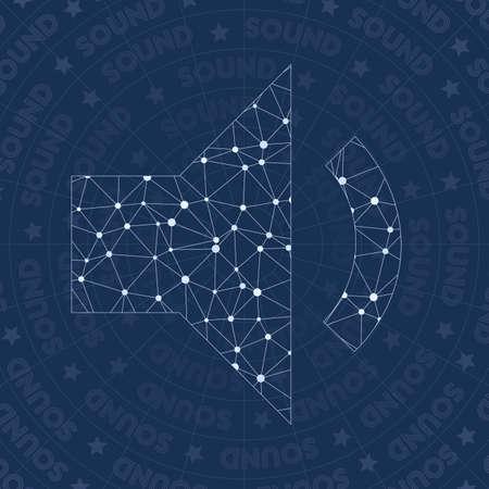 Volume down network symbol. Appealing constellation style symbol. Memorable network style. Modern design. Volume down symbol for infographics or presentation.