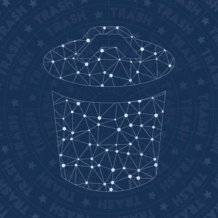 Trash network symbol. Amusing constellation style symbol. Surprising network style. Modern design. Trash symbol for infographics or presentation.