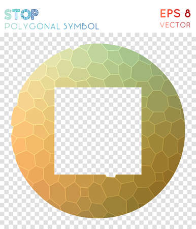 Stop circled polygonal symbol. Beautiful mosaic style symbol. Appealing low poly style. Modern design. Stop circled icon for infographics or presentation.