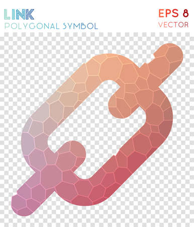 Link polygonal symbol. Artistic mosaic style symbol. Posh low poly style. Modern design. Link icon for infographics or presentation.