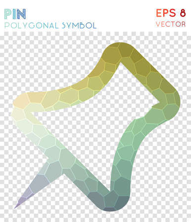 Pin outline polygonal symbol. Authentic mosaic style symbol. Cute low poly style. Modern design. Pin outline icon for infographics or presentation. Stock Illustratie