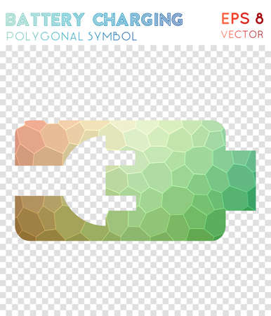 Battery polygonal symbol. Actual mosaic style symbol. Unusual low poly style. Modern design. Battery icon for infographics or presentation.