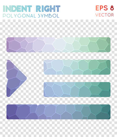 Indent right polygonal symbol. Appealing mosaic style symbol. Rare low poly style. Modern design. Indent right icon for infographics or presentation.
