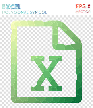 File excel polygonal symbol. Amazing mosaic style symbol. Positive low poly style. Modern design. File excel icon for infographics or presentation.