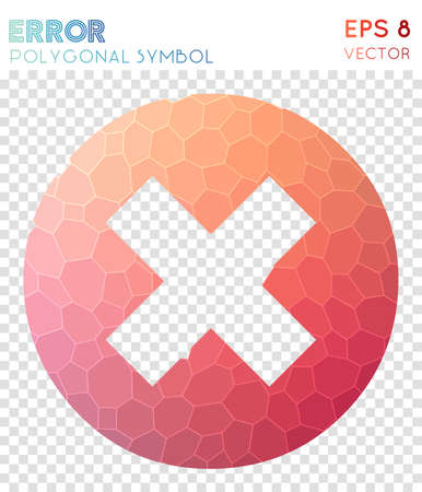 Error polygonal symbol. Adorable mosaic style symbol. Beauteous low poly style. Modern design. Error icon for infographics or presentation.