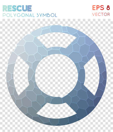 Lifebuoy polygonal symbol. Artistic mosaic style symbol. Optimal low poly style. Modern design. Lifebuoy icon for infographics or presentation.