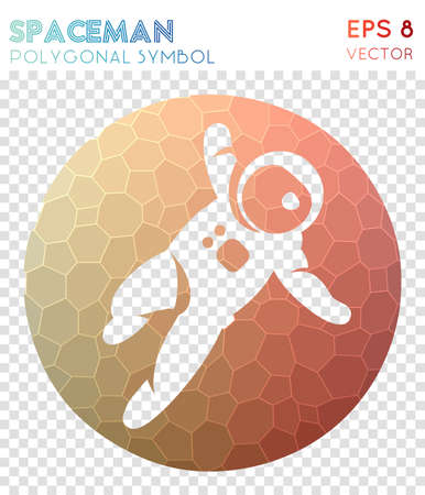 Spaceman polygonal symbol. Appealing mosaic style symbol. Amazing low poly style. Modern design. Spaceman icon for infographics or presentation.