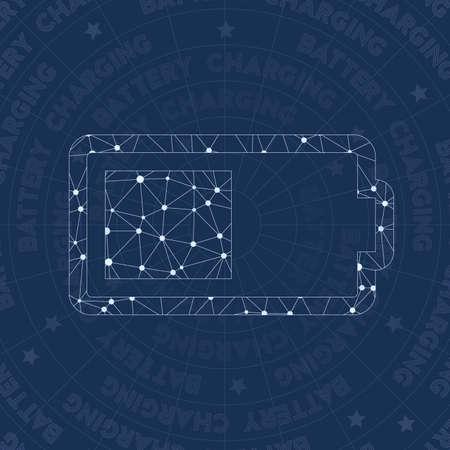 Battery network symbol. Actual constellation style symbol. Resplendent network style. Modern design. Battery symbol for infographics or presentation. Stock fotó - 110389527