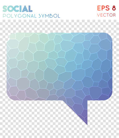 Comment polygonal symbol. Alive mosaic style symbol. Favorable low poly style. Modern design. Comment icon for infographics or presentation.