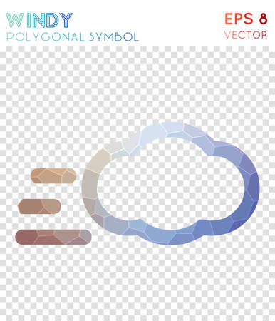 Windy polygonal symbol. Bizarre mosaic style symbol. Tempting low poly style. Modern design. Windy icon for infographics or presentation.