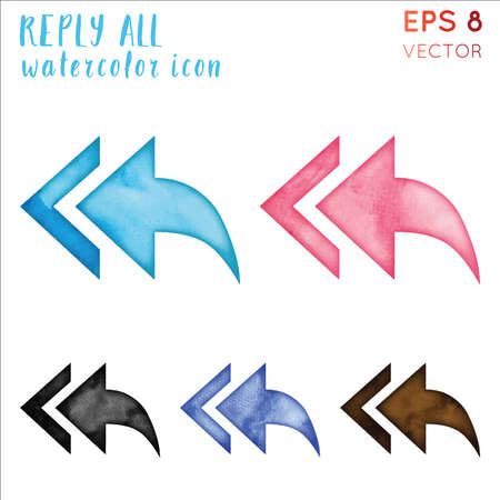 Reply all watercolor icon set. Awesome hand drawn style symbol. Breathtaking watercolor symbol. Modern design for infographics or presentation. Illustration