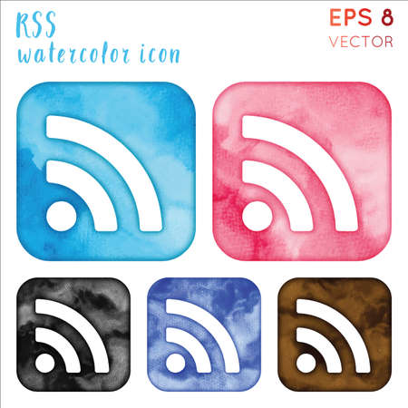 Rss watercolor icon set. Awesome hand drawn style symbol. Shapely watercolor symbol. Modern design for infographics or presentation.