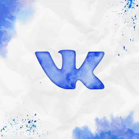 Vkontakte watercolor icon. Bold hand drawn style symbol. Ecstatic watercolor symbol. Modern design for infographics or presentation. Ilustração