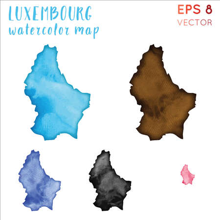Luxembourg watercolor country map. Handpainted watercolor Luxembourg map set. Vector illustration.