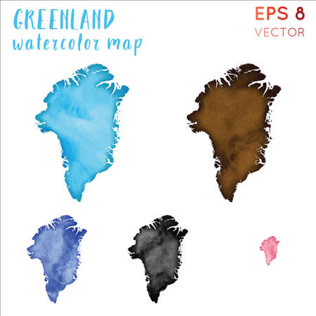 Greenland watercolor country map. Handpainted watercolor Greenland map set. Vector illustration.