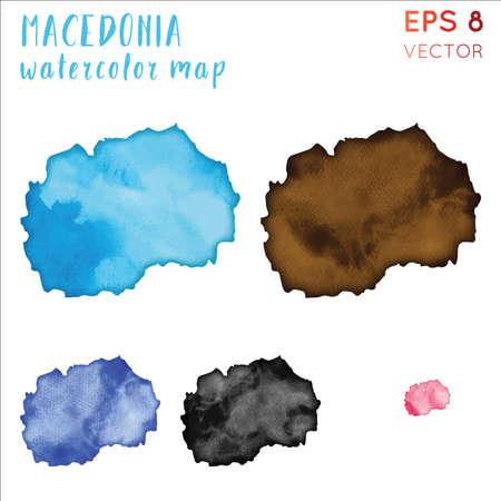 Macedonia watercolor country map. Handpainted watercolor Macedonia map set. Vector illustration.