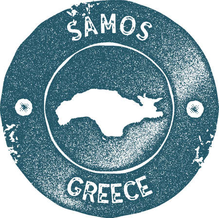 Samos map vintage stamp. Retro style handmade label, badge or element for travel souvenirs. Blue rubber stamp with island map silhouette. Vector illustration. Ilustracja