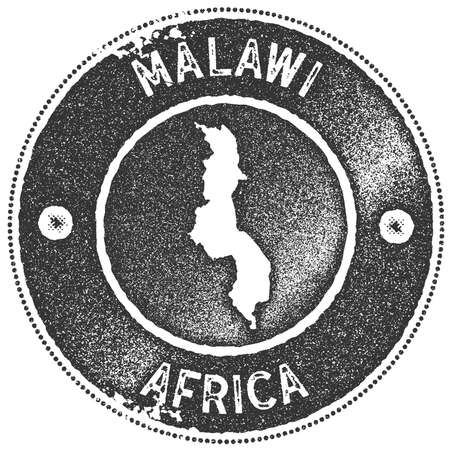 Malawi map vintage stamp. Retro style handmade label, badge or element for travel souvenirs. Dark grey rubber stamp with country map silhouette. Vector illustration.