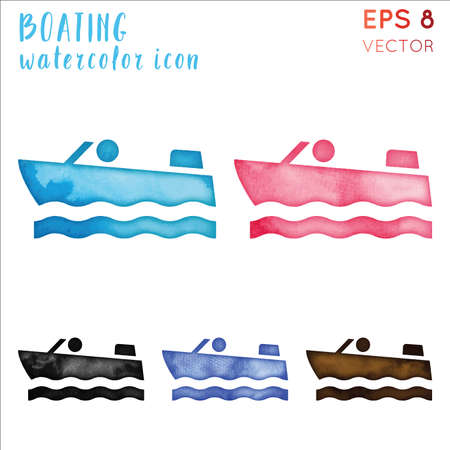 Boating watercolor symbol. Actual hand drawn style symbol. Captivating boating watercolor icon. Modern design for infographics or presentation.