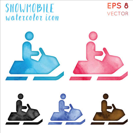 Snowmobile watercolor symbol. Admirable hand drawn style symbol. Breathtaking snowmobile watercolor icon. Modern design for infographics or presentation.