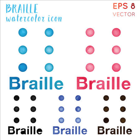 Braille watercolor symbol. Actual hand drawn style symbol. Classy braille watercolor icon. Modern design for infographics or presentation.
