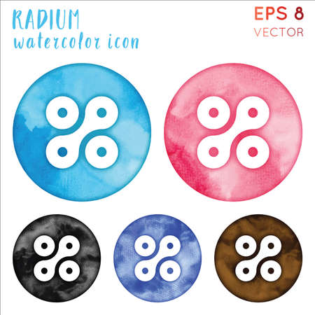 Radium watercolor symbol. Admirable hand drawn style symbol. Pretty Radium watercolor icon. Modern design for infographics or presentation.