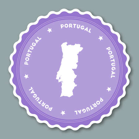 Portuguese Republic sticker flat design. Round flat style badges of trendy colors with country map and name. Country sticker vector illustration.