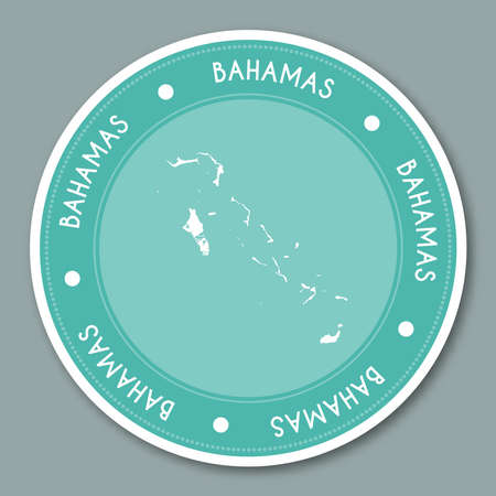 Bahamas label flat sticker design. Patriotic country map round lable. Country sticker vector illustration.