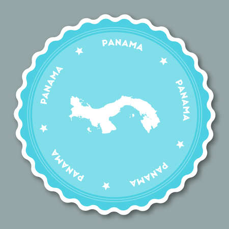 Panama sticker flat design. Round flat style badges of trendy colors with country map and name. Country sticker vector illustration. Illustration