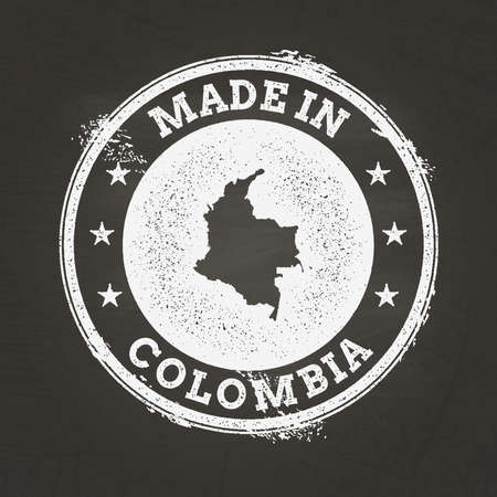 White chalk texture made in stamp with Republic of Colombia map on a school blackboard. Grunge rubber seal with country map outline, vector illustration. Illustration