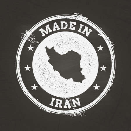 White chalk texture made in stamp with Islamic Republic of Iran map on a school blackboard. Grunge rubber seal with country map outline, vector illustration.
