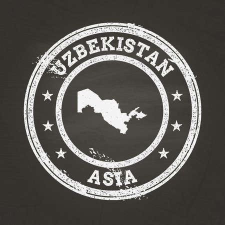 White chalk texture grunge stamp with Republic of Uzbekistan map on a school blackboard. Grunge rubber seal with country map outline, vector illustration.