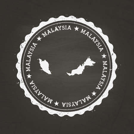 White chalk texture rubber stamp with Malaysia map on a school blackboard. Grunge rubber seal with country map outline, vector illustration.