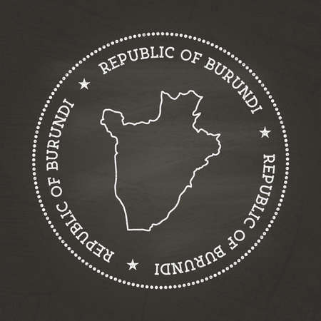 White chalk texture vintage seal with Republic of Burundi map on a school blackboard. Grunge rubber seal with country map outline, vector illustration.