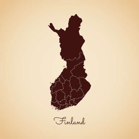 Mapa de la región de Finlandia: contorno marrón de estilo retro sobre fondo de papel viejo. Mapa detallado de las regiones de Finlandia. Ilustración de vector.