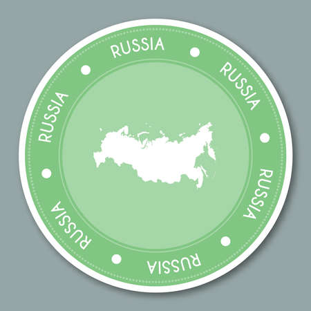 Russian Federation label flat sticker design. Patriotic country map round lable. Country sticker vector illustration.